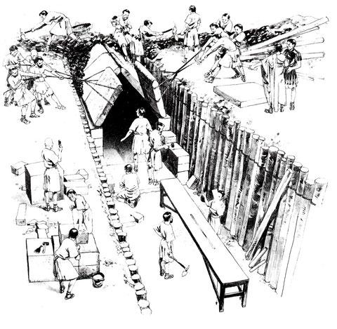 Construcción de un acueducto.