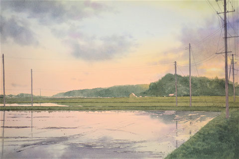 "Work 7 , "" Dusk of May "" , 33x50cm,  270,000yen , sold"