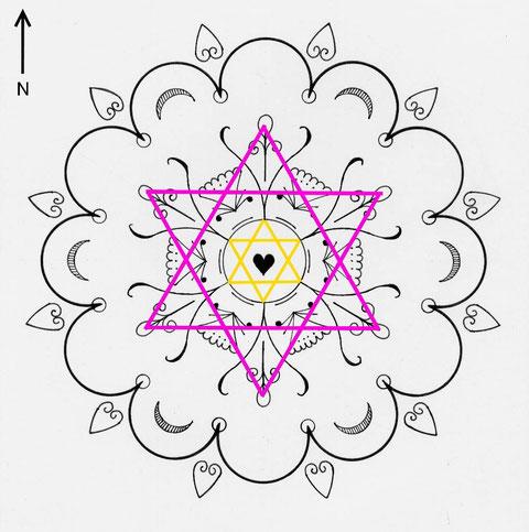 """Ce dessin, intitulé """"Ouverture du Coeur"""", est l'oeuvre de Dane POULET (publié avec son autorisation . www.mystereetsacre.canalblog.com www.geometriesacree.canalblog.com www.cerclelumineux.canalblog.com)."""