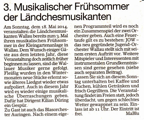 Ankündigung im Erbenheimer Anzeiger vom 9.5.14