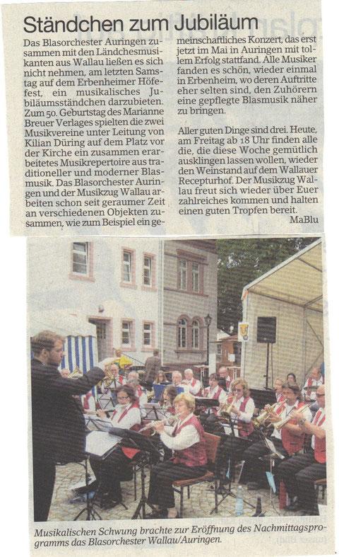 Bericht im Erbenheimer Anzeiger 27.06.2014