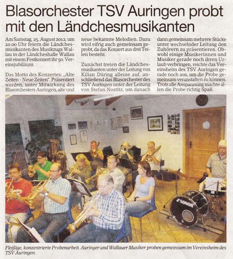 vielen Dank an die Auringer Kollegen für den Bericht im Erbenheimer Anzeiger vom 17.08.2012