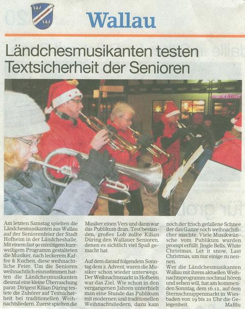 Bericht im Erbenheimer Anzeiger vom 14.12.2012