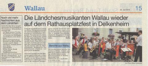 Bericht im Erbenheimer Anzeiger 25. Juli 2014