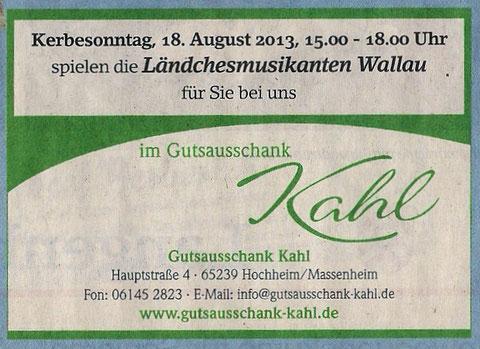 Vorankündigung im Erbenheimer Anzeiger 09.08. 2013