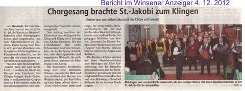 Bericht Adventskonzert 2012 (WA vom 04.12.2012)