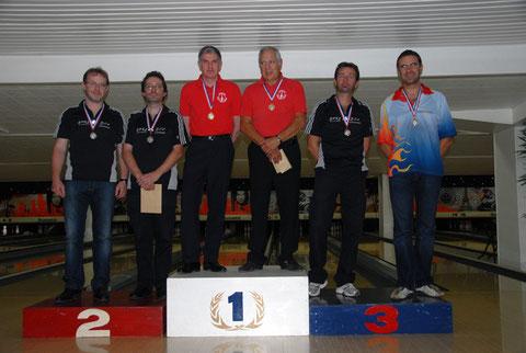 Christian MOSMANT, Thierry LAVERGNE et Laurent CARON sur le podium en petite finale