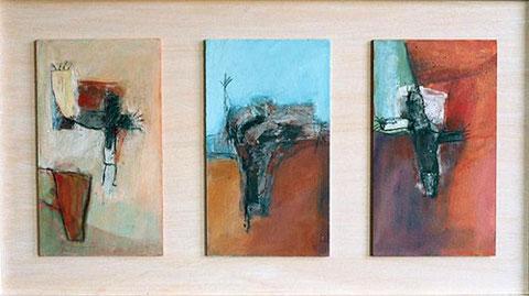 .. Ich fliege ... Öl und Eitempera auf drei Platten im Holzkasten, 2002, 50 x 90 cm