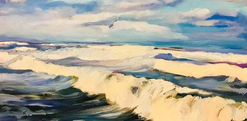 Meer, Brandung, Wellen, auflaufendes Wasser, Dünung, Wolken, Nordsee, Malerei, Kunst