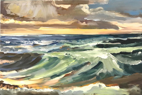 Meer, Ozean, Wellen, Dünung, Wolken, Nordsee, Malerei, Kunst, Sabine-Wenig