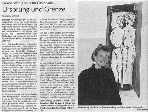 Sabine Wenig stellt im Casino aus: Ursprung und Grene