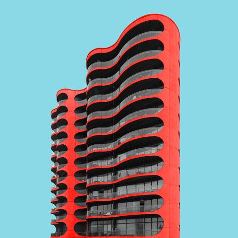 metropolis apartment building Copenhagen Denmark colorful modern architecture photography minimalism facade inspiration red blue