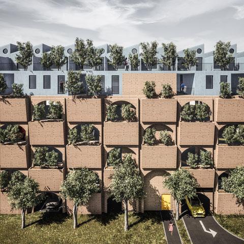 Architektur Konzept für die Überbauung eines EDEKA Supermarkt in Berlin Schmargendorf. Städtebauprojekt mit Wohnraum und Geschäftsflächen von Paul Eis.