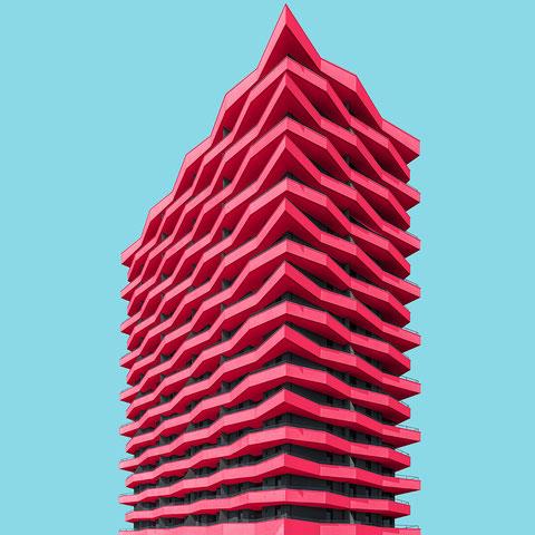 Lenau Terrassen Grüne Mitte Linz Stögmüller Architekten colorful architecture minimal facade design pink