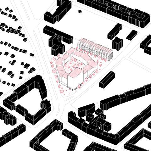 Architektur Konzept für die Überbauung eines EDEKA Supermarkt in Berlin Schmargendorf. Städtebauprojekt mit Wohnraum und Geschäftsflächen von Paul Eis. Urbanism axonometric drawing.