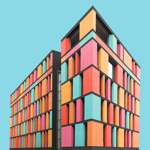 Umweltministerium Berlin Mitte colorful modern architecture facade photography inspiration blue red yellow orange pink