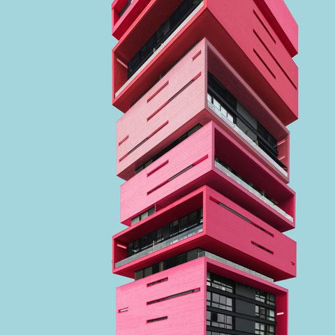 Energy living Medellin el Poblado skyscraper colorful architecture minimal facade design
