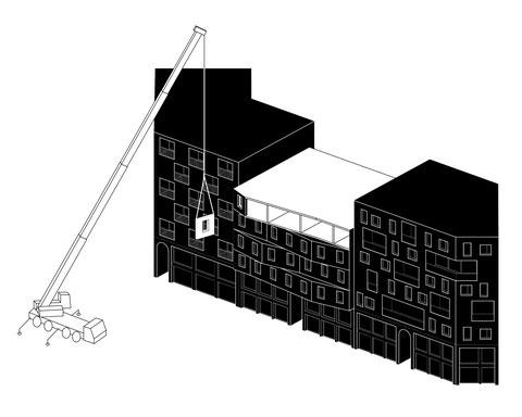 Architektur Konzept für die Überbauung eines EDEKA Supermarkt in Berlin Schmargendorf. Städtebauprojekt mit Wohnraum und Geschäftsflächen von Paul Eis. Conceptual axonometric drawing
