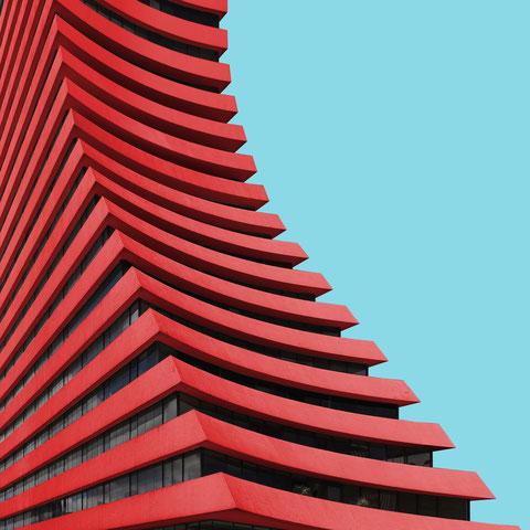 edificio aseguradora del valle Bogota colombia colorful modern  architecture photography curvy highrise facade inspiration red blue