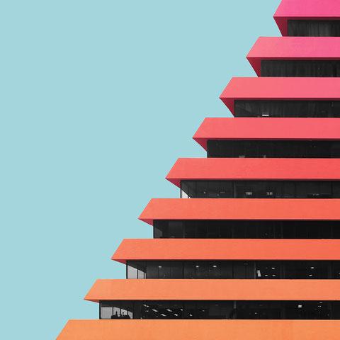 Edificio Aseguradora del Valle Bogota Columbia colorful architecture photography minimal facade design