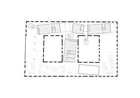Floorplan drawing. Radical transformation of an historic farm building in Upper Austria. Use of prefabricated, modular wooden architecture. Umbau eines Vierkanthofes.