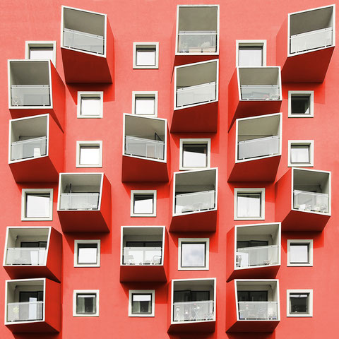 playful balconies ørestad copenhagen architecture modern  colorful photography minimal facade design inspiration red