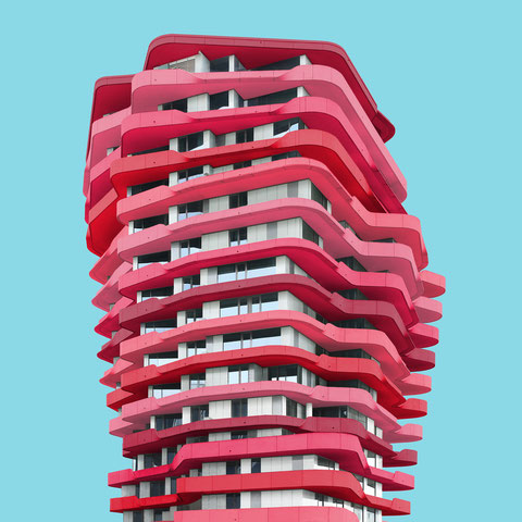 marco polo tower hamburg Hafencity behnisch Architekten colorful modern architecture facade photography inspiration blue red pink