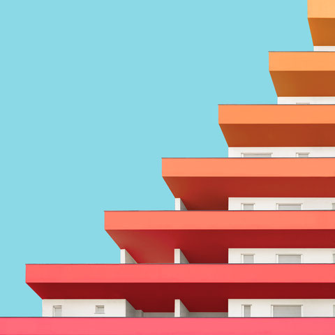colorful modern architecture minimal photography facade  inspiration Milano italy yellow orange red pink residential building