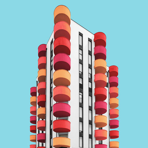 colorful architecture facade Milano italy modern design minimimalsm photography red orange blue