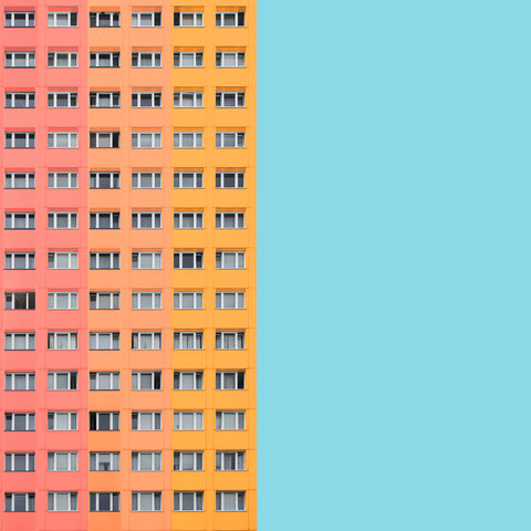 Berlin Plattenbau DDR social housing architecture minimal facade design colorful photography rectangular