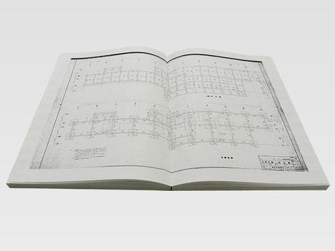 観音製本(見開いた時にそのまま一枚の図面で見ることができる製本です)