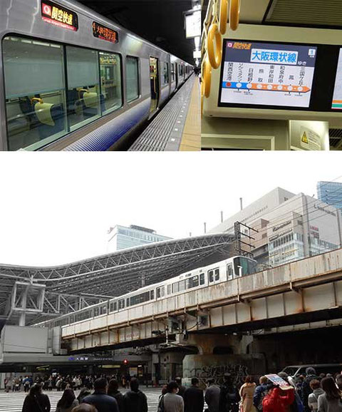 4年ぶりの阪急・JRを結ぶ横断歩道。そういえば阪神百貨店の姿が消えていた。