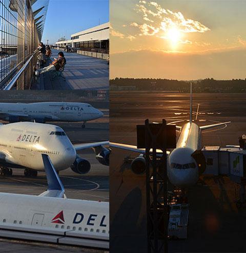 偶然にもデルタ航空機まみれの時間帯が訪れ、しっかり収めさせてもらいました。