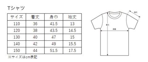 スターアカデミー公式ユニフォームサイズ表 Tシャツ 110cm 120cm 130cm 140cm 150cm