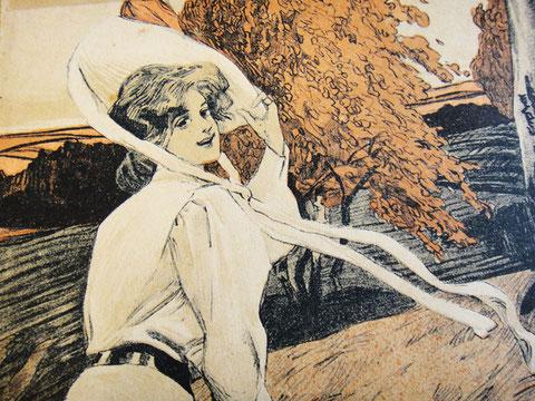 Девушка на осеннем ветру в мечтах, рисунок, нотная обложка