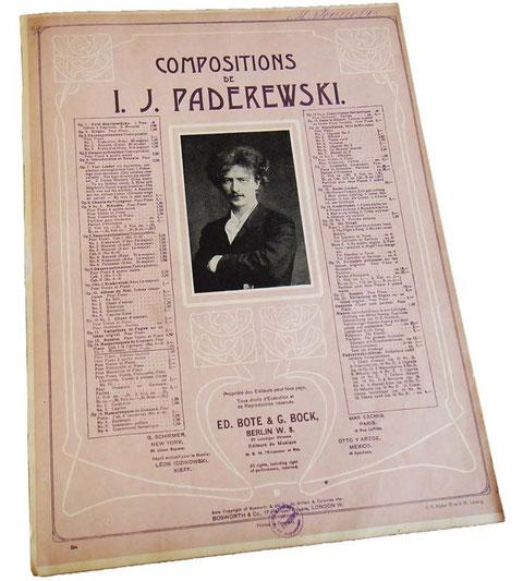 Менуэт Падеревского, старинные ноты, обложка