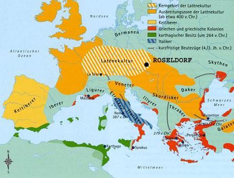 Verbreitungskarte der Kelten