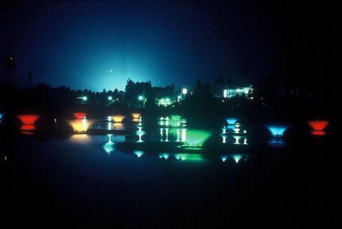 夜景  南堀りでの光の「噴水ショー」