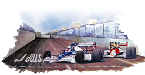 art automobile senna jean alesi automotive art f1 painting art automobile tyrrell