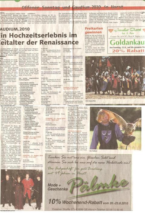 Zeitungsartikel des Gaudium