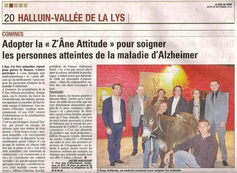 article parue dans La Voix du Nord 20 septembre 2012