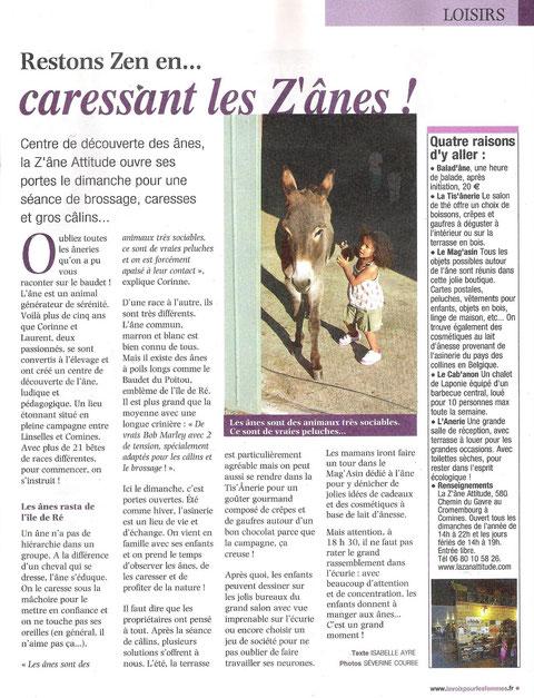 article paru dans Fémina novembre 2012