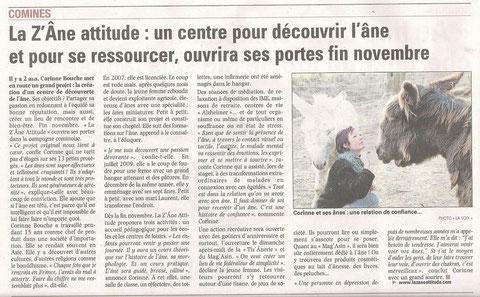 article paru dans La Voix du Nord le 8 novembre 2010