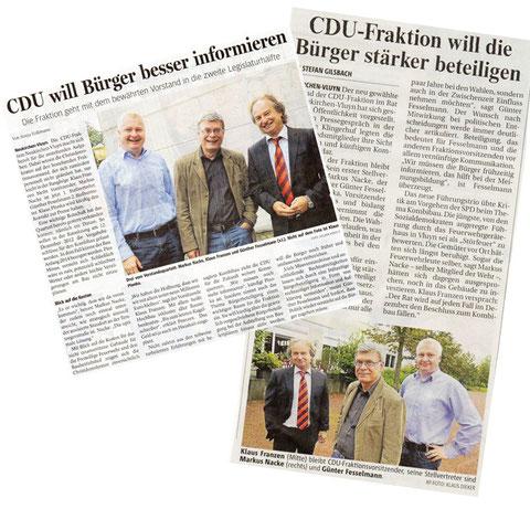 Die neue Spitze der CDU-Fraktion Neukirchen-Vluyn: Klaus Franzen (Vorstand), Markus Nacke (1. stv. Vorstandsvorsitzende), Günther Fesselmann (2. stv. Vorstandsvorsitzende)