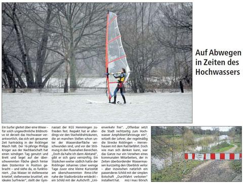 HAZ Zeitungsartikel Hochwasser surfen - 07.02.2008