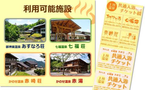 上川温泉共通入浴チケット綴り 利用可能施設