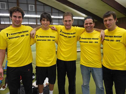 v.l. Dirk Groth, Patrick Elias, Gerrit Lotz, Coach Luis Elias, Pascal Wilkat