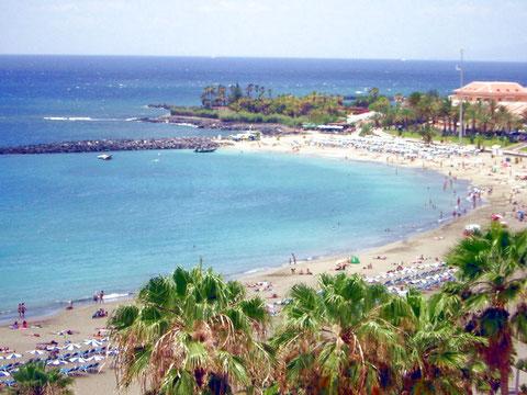 Bild: Weisser Strand wo preiswerte Urlaub ist in privaten Ferienhäusern im Süden von Teneriffa möglich.
