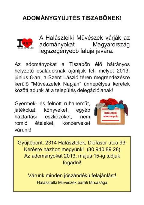 Tiszabő helyett Nemesvid kapta a 2013-as adományainkat. Sajnos Tiszabő nem jelzett vissza megkeresésünkre.