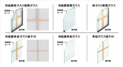 和紙調ガラス、画像だと分かりにくいですが、和紙特有の模様もでております。